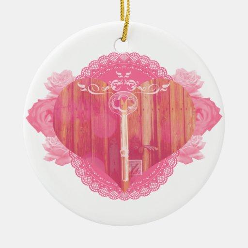 Porta dada forma coração com chave de esqueleto ornamento para arvore de natal