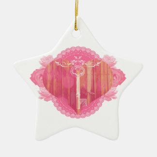 Porta dada forma coração com chave de esqueleto ornamento de cerâmica estrela