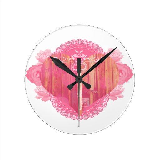 Porta dada forma coração com chave de esqueleto relógios de paredes