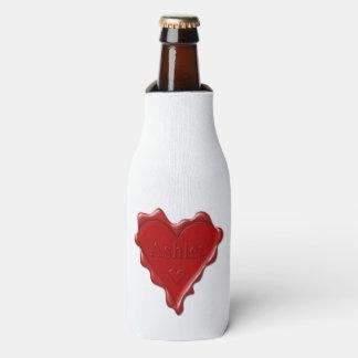 Porta-garrafa Ashley. Selo vermelho da cera do coração com