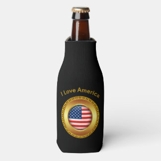 Porta-garrafa Bandeira americana da nação com um quadro do ouro