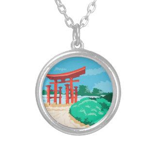 Porta japonesa WPA de Torii Colar Banhado A Prata