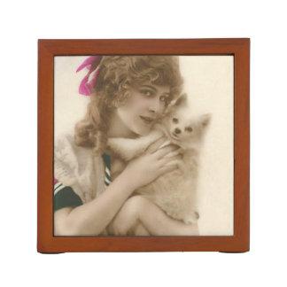 Porta Lápis Mulher e cão antigos do Victorian da foto