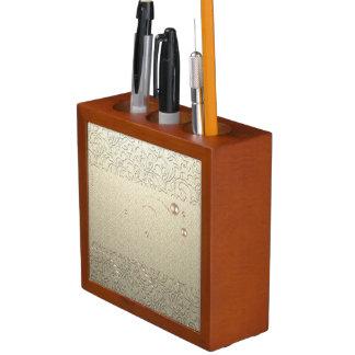 Porta-lápis Pérolas chiques elegantes do laço do damasco