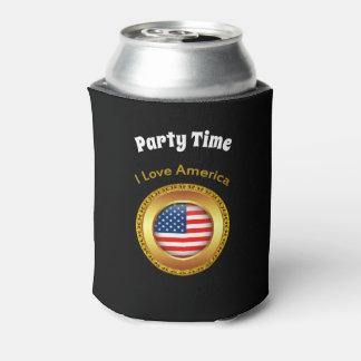 Porta-lata Bandeira americana da nação com um quadro do ouro
