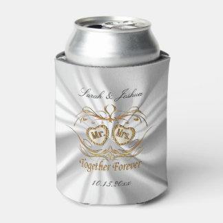Porta-lata Cetim & ouro brancos que Wedding para sempre