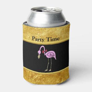 Porta-lata Flamingos cor-de-rosa que estão com um laço