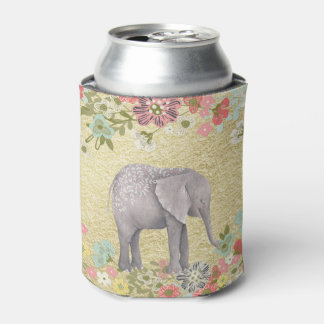 Porta-lata Folha de ouro floral do quadro do elefante
