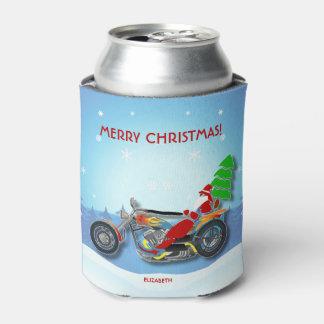 Porta-lata Papai noel do Natal que monta a bicicleta do