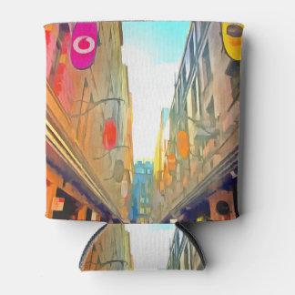 Porta-lata Passagem entre construções coloridas