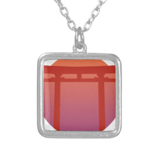 Porta vermelha de Torri do japonês - por do sol - Colar Banhado A Prata