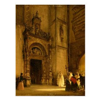 Portal lateral da catedral de Como, 1850 Cartão Postal