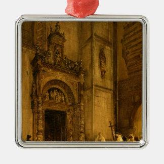 Portal lateral da catedral de Como, 1850 Ornamento Quadrado Cor Prata