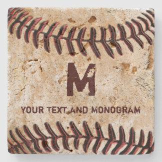 Portas copos do basebol do vintage seus monograma porta copos de pedra