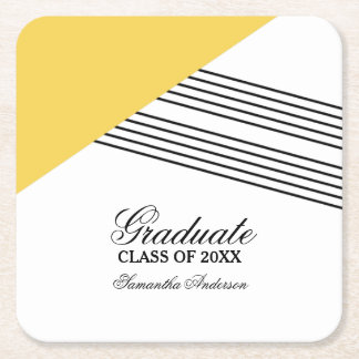 Portas copos geométricas amarelas da graduação da porta-copo de papel quadrado