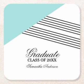 Portas copos geométricas da graduação da listra do porta-copo de papel quadrado