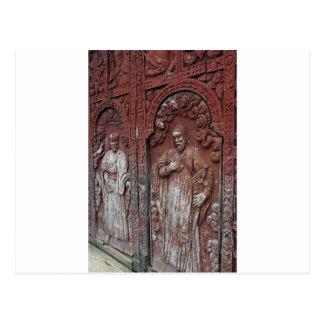 Portas de madeira ornamentado da igreja Católica Cartão Postal