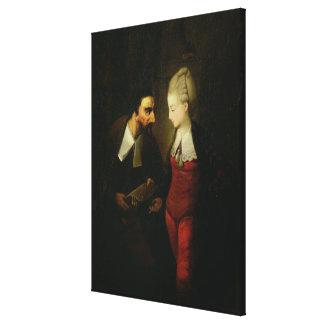 "Portia e Shylock ""do comerciante de Veneza"" A Impressão De Canvas Esticada"