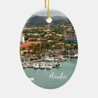 Porto de Aruba Ornamento De Cerâmica Oval
