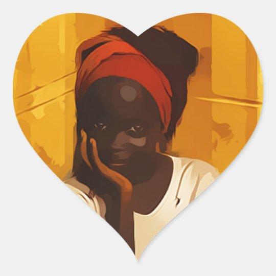 Portrait of young african girl adesivo coração