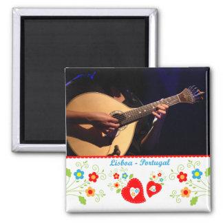 Portugal nas fotos - a guitarra portuguesa ímã quadrado