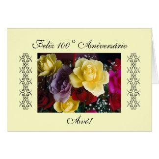Português: 100 anos/Parabéns Avo! Cartão Comemorativo