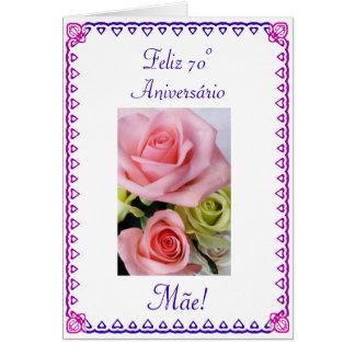 Português: Aniversário da mãe de 70 Anos 60th Cartão Comemorativo