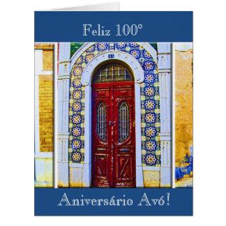 Português: Aniversário de Avó 100 dos Parabens Cartão Comemorativo Grande