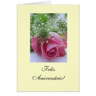 Português: Aniversário Rosa: Feliz Aniversário! Cartão