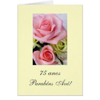 Português: Anos a Dinamarca Avo 75 anos - rosas Cartão Comemorativo