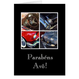 Português: Avô/carro dos Parabens Cartão