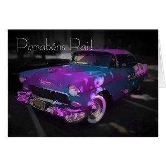 Português: azul e rosa do carro cartão comemorativo