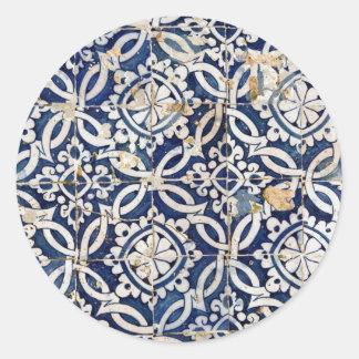 Português Azulejo do vintage Adesivo Redondo