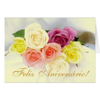Português: Feliz Aniversario! cores do beije dos Cartão Comemorativo