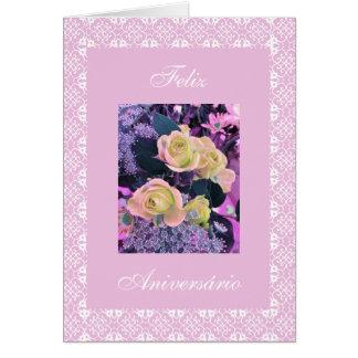 Português: parabéns! rosas do aniversário cartão comemorativo