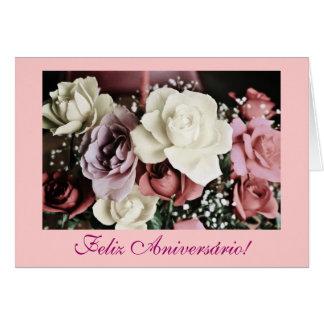 Português: Rosas Rosas de aniversário do Cartão Comemorativo