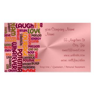 Positividade inspirador das palavras #1, cartão de visita