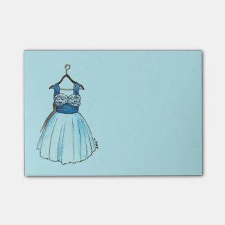 Post-it azuis bonito da forma do vestido do baile bloquinhos de notas