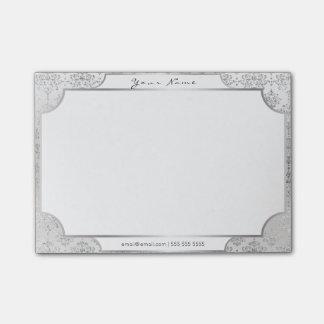 Post-it branco real do quadro das cinzas de prata bloquinho de nota