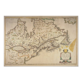 Póster 1643 French Map of New France