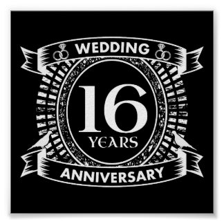 Póster 16o aniversário de casamento preto e branco