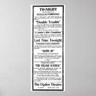 Poster 1915 do anúncio do filme do vintage de Doug