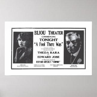 Poster 1916 do anúncio do filme do vintage de Thed