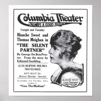 Poster 1917 do anúncio do filme do vintage do doce