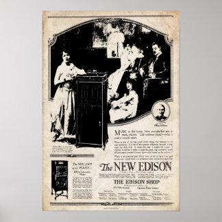 Poster 1917 do fonógrafo de Edison do vintage