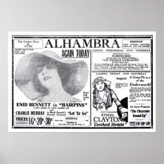 Poster 1920 do anúncio do filme do vintage de Ethe