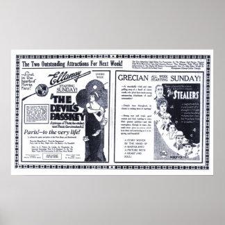 Poster 1920 do anúncio do filme do vintage do Pass