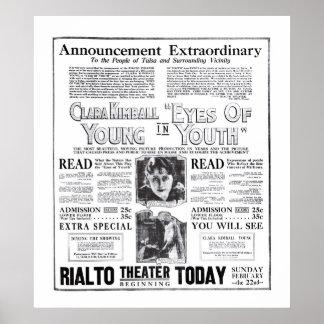 Poster 1920 do anúncio do filme do vintage dos jov