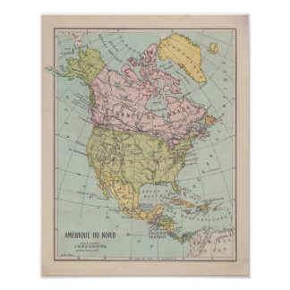 Poster 1920 ' s French North América Map
