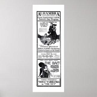 Poster 1921 do anúncio do filme do vintage de Hamp